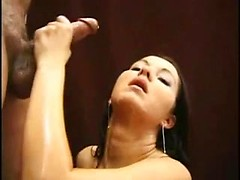 Sweet brunette babe makes this huge cock cum with her hands on cam