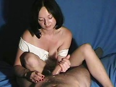 Gentle amateur wife Zoe masturbating my big cock and taking cumshot